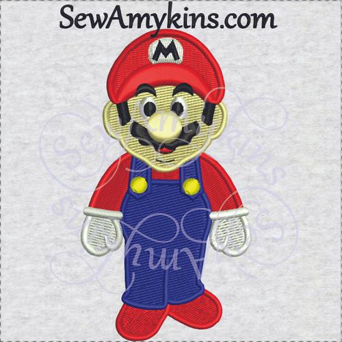 super Mario embroidery design overalls hat M