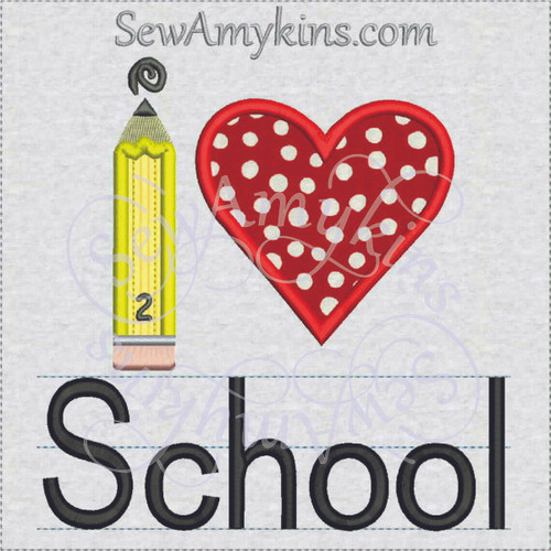 I love school pencil heart applique machine embroidery
