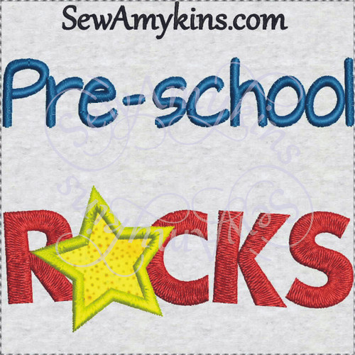 pre-school rocks school design star applique
