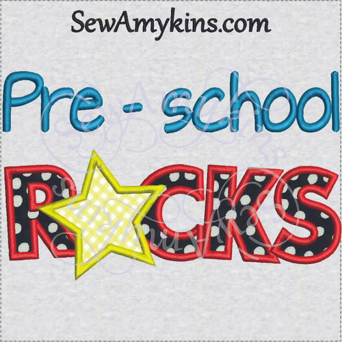 pre-school rocks applique star school embroidery design