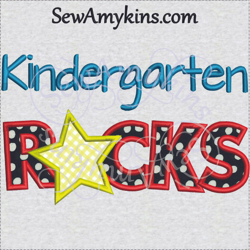 kindergarten rocks applique star school design 5x7