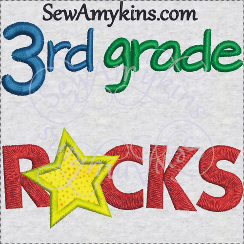3rd grade rocks star applique school embroidery sewamykins