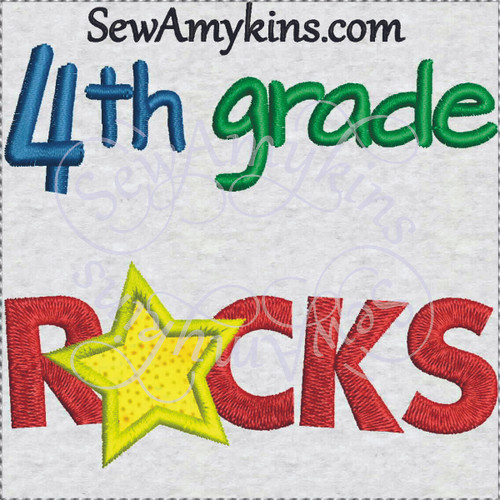 4th grade rocks star applique embroidery sewamykins