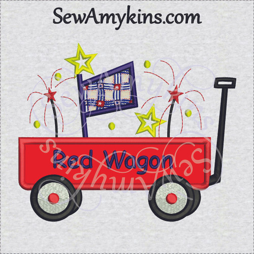 little red wagon applique flag stars fireworks parade machine embroidery design