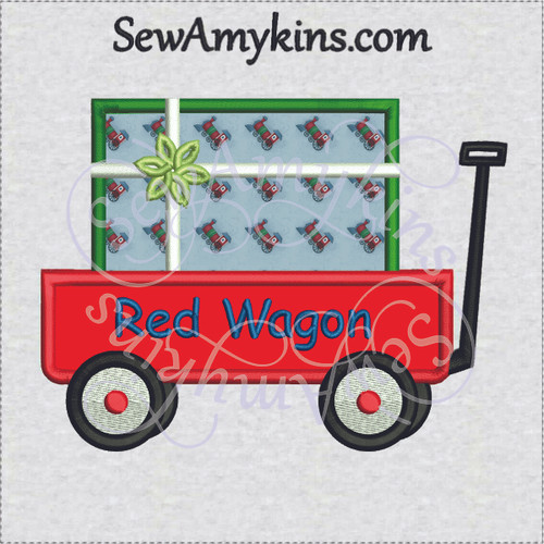 little red wagon applique gift present package birthday christmas holiday machine embroidery design