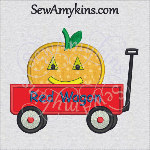 little red wagon applique pumpkin jack o lantern halloween machine embroidery design