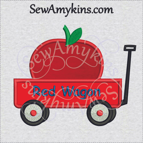 little red wagon applique apple teacher school machine embroidery design