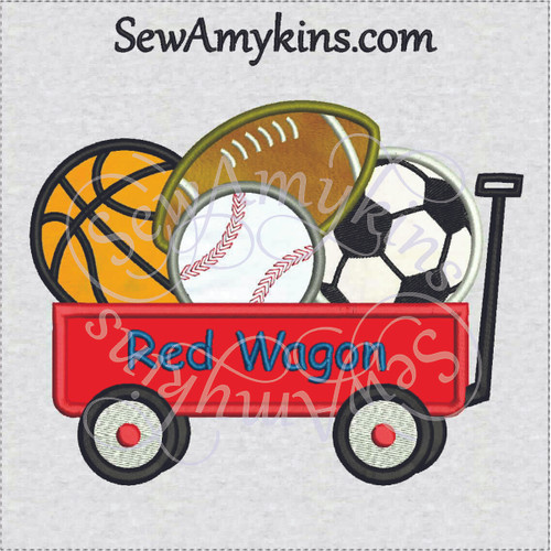 little red wagon applique sports baseball football soccer basketball balls machine embroidery design