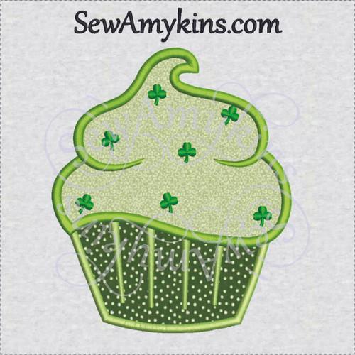 cupcake applique Irish shamrock sprinkles machine embroidery lucky cup cake
