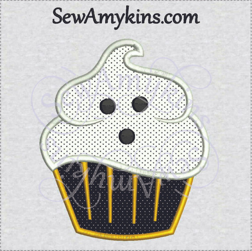 cupcake ghost applique machine embroidery design halloween sewamykins