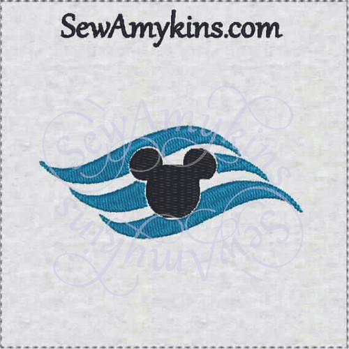 cruise ship logo mickey head embroidery design