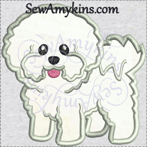Bichon Frise puppy dog applique machine embroidery design