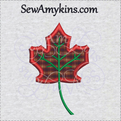 maple leaf applique fall autumn machine embroidery design