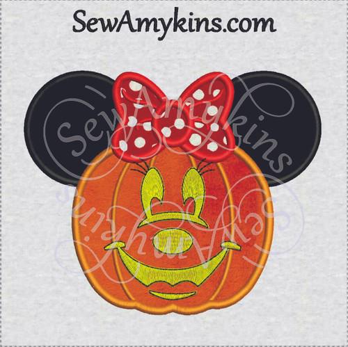 Minnie Mouse halloween pumpkin face applique head embroidery design jack o lantern embroidery design