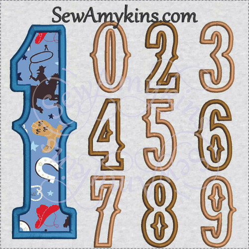 Cowboy western style numbers applique country fun for birthday kid machine embroidery design