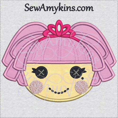 jewel sparkles applique doll face machine embroidery design, curls & crown