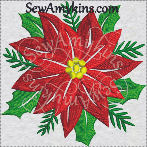 poinsettia Christmas flower machine embroidery design