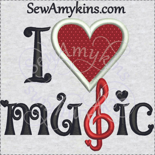 I love music applique machine embroidery design heart g clef