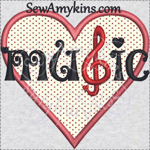 heart music applique machine embroidery design love g clef