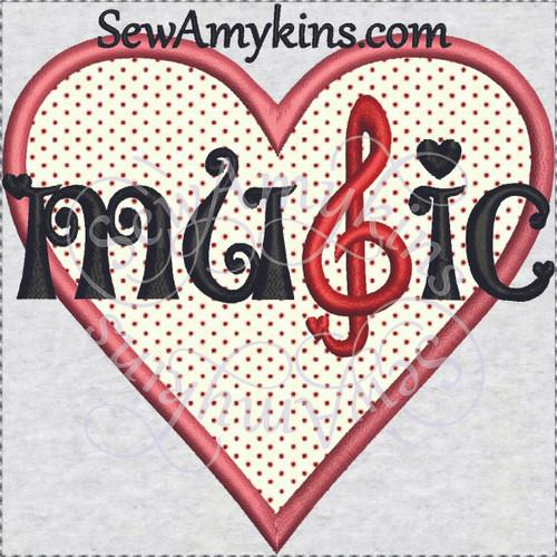 heart music applique machine embroidery design love g clef