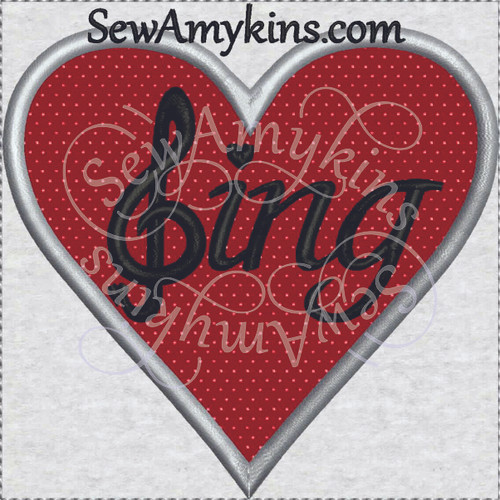 sing heart applique machine embroidery design love g clef