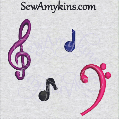 music elements machine embroidery designs: bass clef, treble clef, quarter note, eighth note