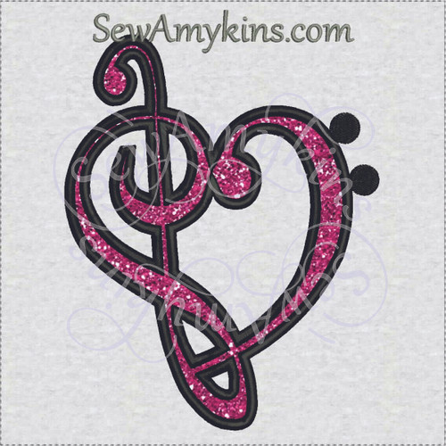 music treble bass clef applique embroidery design g