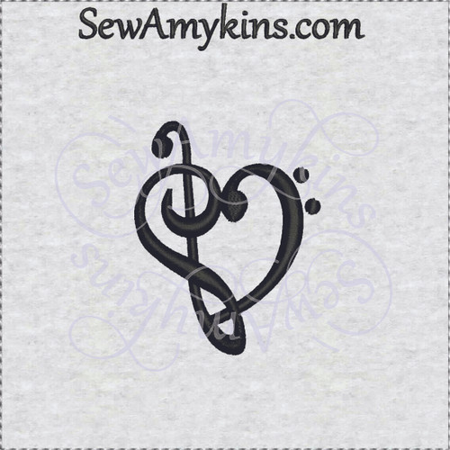 treble bass clef music embroidery design g