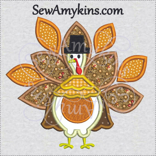turkey pilgrim thanksgiving applique machine embroidery design
