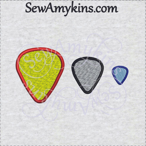 guitar pick machine embroidery design in 3 sizes