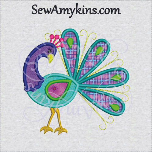 peacock bird applique whimsical machine embroidery design