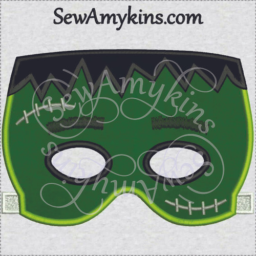 Frankenstein monster halloween mask applique machine embroidery design