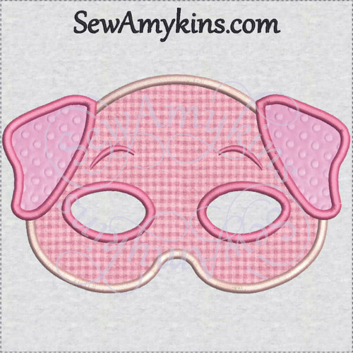 pig halloween mask applique machine embroidery design piggy