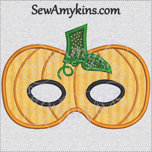 pumpkin jack o lantern halloween mask applique machine embroidery design