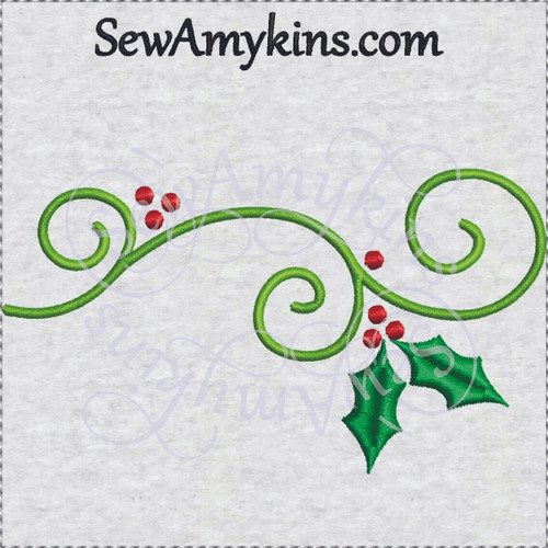 swirl holly vines Christmas embroidery design