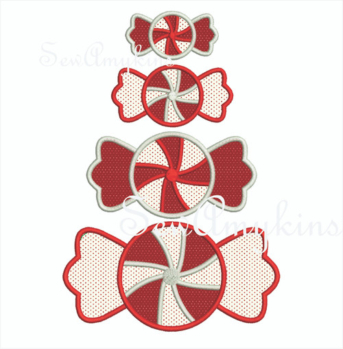 peppermint applique 2 layer embroidery mint candy