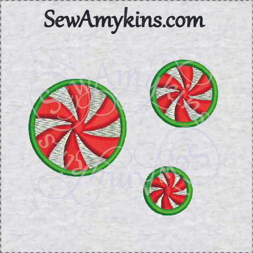 peppermints Christmas candy fill stitch embroidery