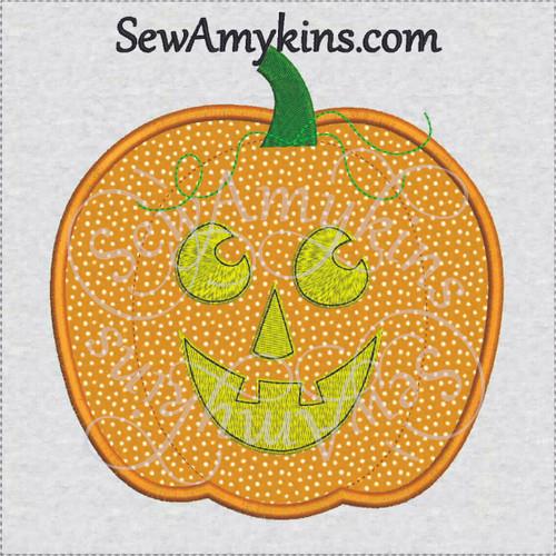 pumpkin Halloween applique jack o lantern face embroidery design