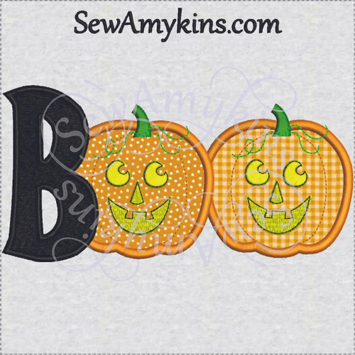 Boo pumpkin Halloween applique jack o lantern face embroidery design