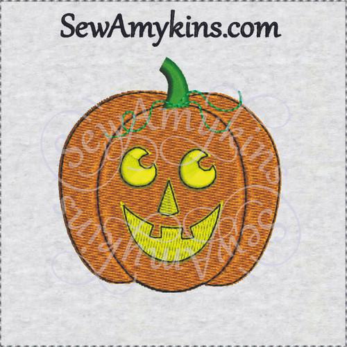 pumpkin Halloween jack o lantern face embroidery design
