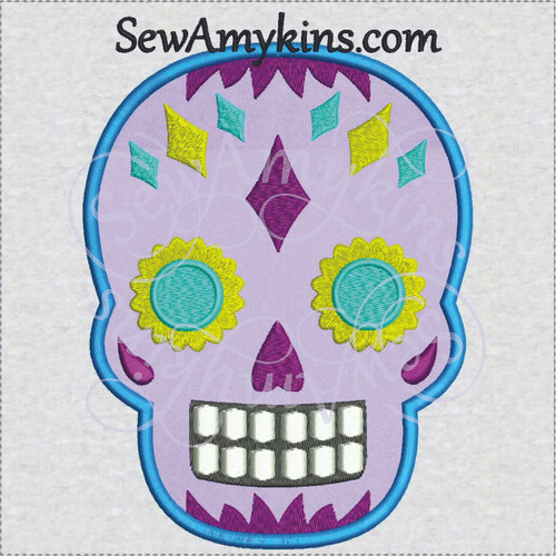 sugar skull day of the dead skeleton face applique embroidery
