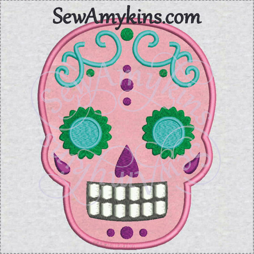 sugar skull day of the dead skeleton face applique embroidery dots vines