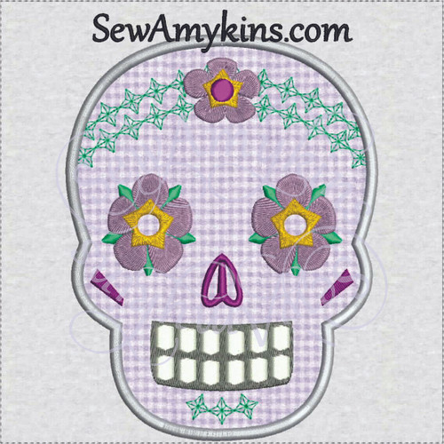 sugar skull day of the dead skeleton face applique embroidery flowers