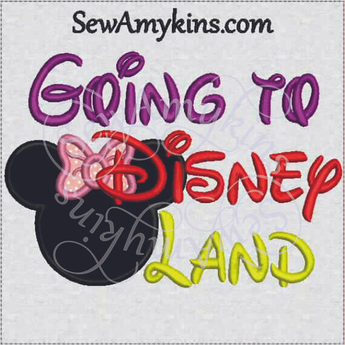 going to Disney land Minnie mouse applique embroidery