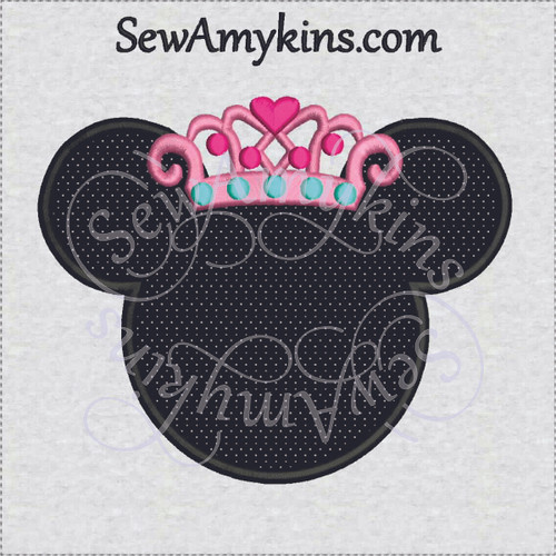 Minnie Mouse princess applique crown embroidery design