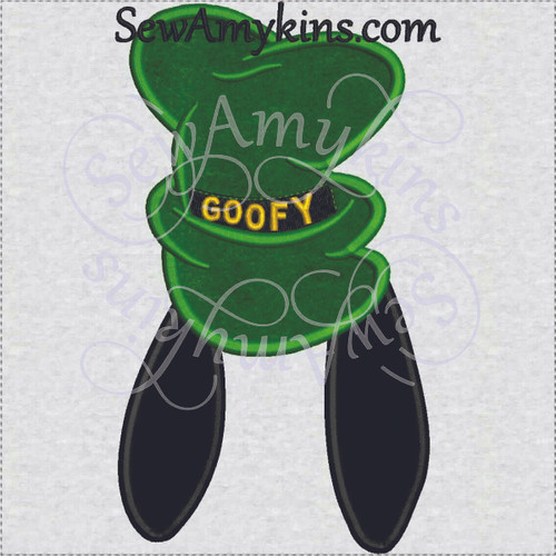 goofy hat applique dog ears machine embroidery design 3 sizes