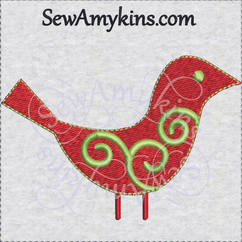Christmas bird swirl embroidery design