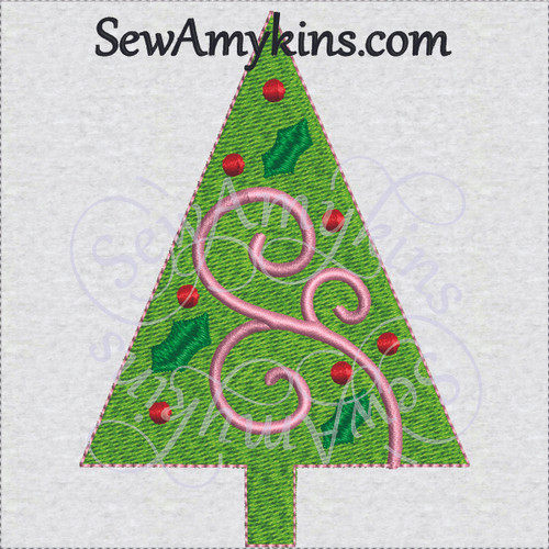 Christmas tree ornament holly swirl machine embroidery bulb