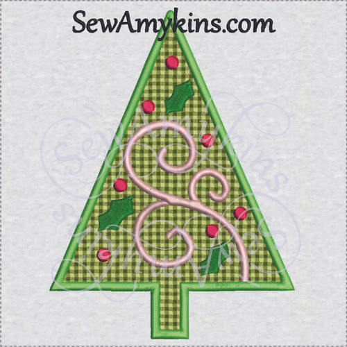 applique Christmas tree ornament holly swirl machine embroidery bulb