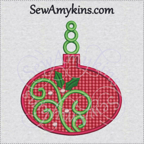 Christmas ornament applique holly swirl oval machine embroidery bulb